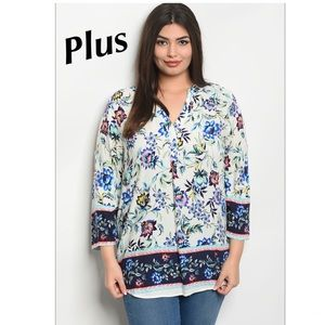 Tops - 5 for $100 Plus➕ Blue Floral Blouse